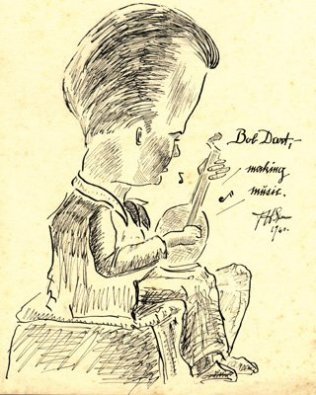 Robert Thurston Dart playing a stringed instrument